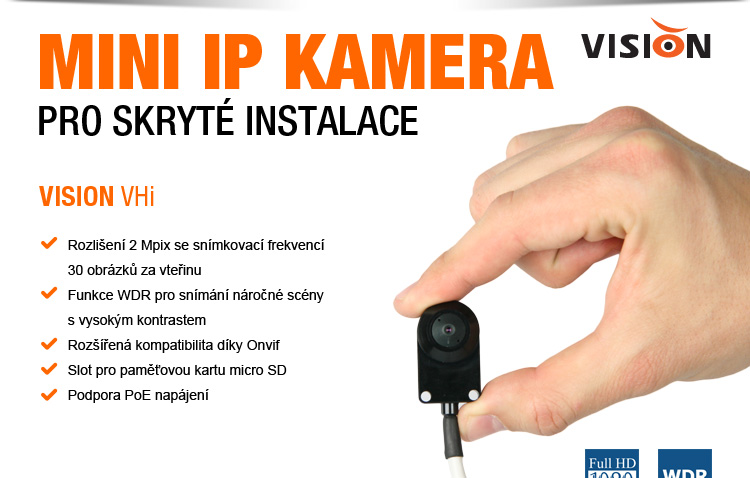 VISION - mini IP kamera pro skryté instalace