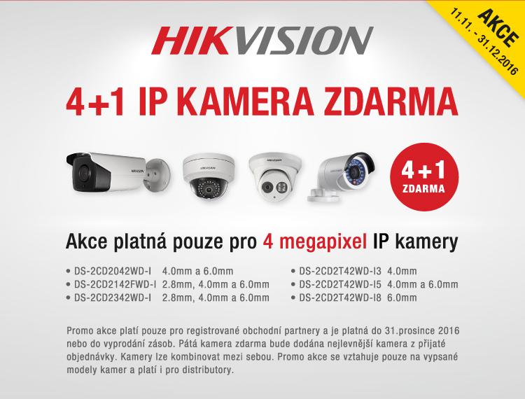 AKCE Hikvision - 4+1 IP kamera 4 megapixel ZDARMA