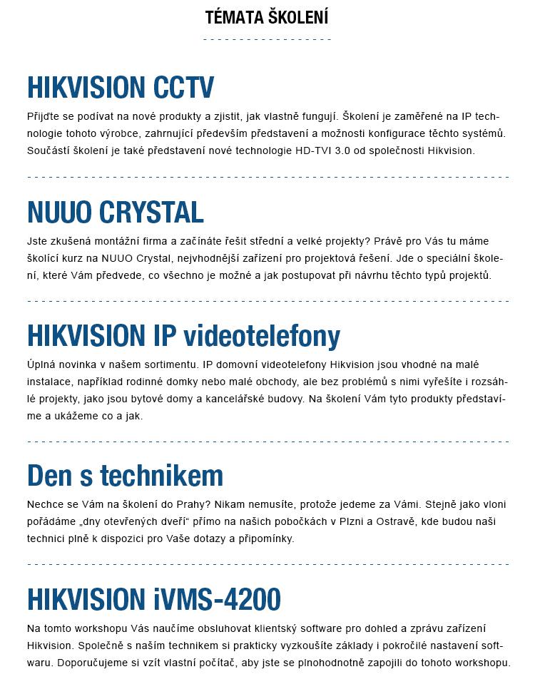 Nové termíny - Profesionální technické školení HIKVISON, NUUO, AVTECH