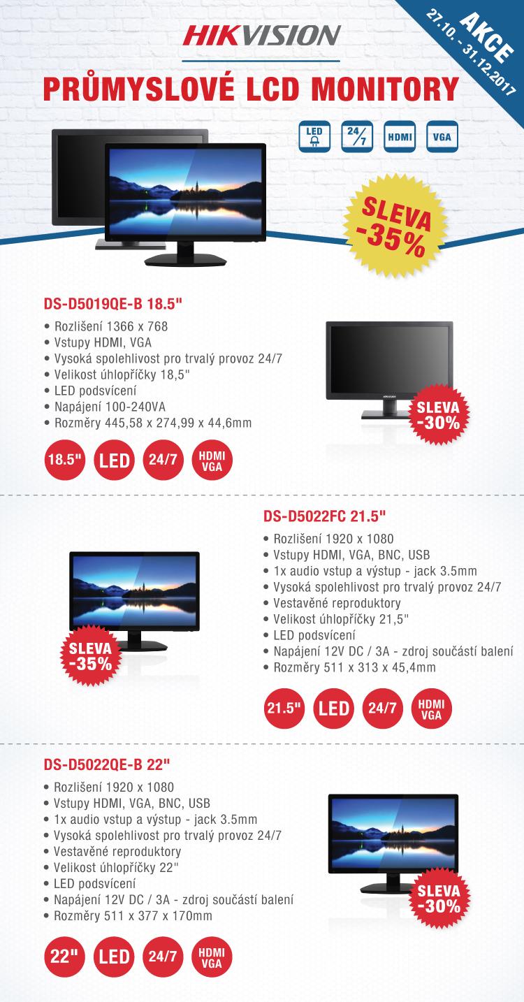 HIKVISION - 30% SLEVA průmyslové LCD monitory