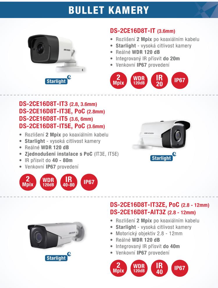 HIKVISION - TURBO HD 4.0 série D8T s vysokou světelnou citlivostí