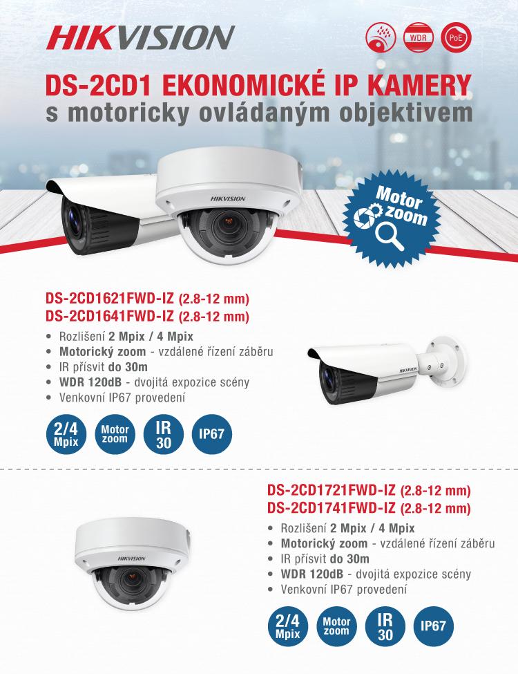 Hikvision - DS-2CD1 Ekonomické IP kamery s motorickým objektivem